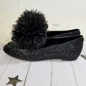 07d40010472b MICHAEL Michael Kors Shoes - Michael Kors Fara black glitter loafers pompom  NEW